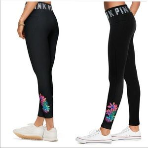 Pink By Victoria Secret Tropical  bling leggings